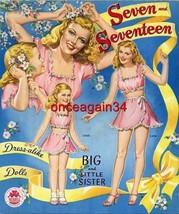 VINTAGE UNCUT 1945 SEVEN & SEVENTEEN PAPER DOLLS~#1 REPRODUCTION~NOSTALG... - $18.99