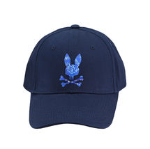 Psycho Bunny Men's Strapback Tie Dye Pattern Rubber Logo Navy Baseball Cap Hat image 3