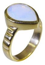 pulchritudinous Fire Opal CZ Gold Plated White Ring genuine jewelry US gift - $17.99