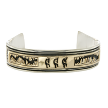 Signed Native American 925 Silver 14K Gold kokopellis Hopi Cuff Bracelet... - $554.43
