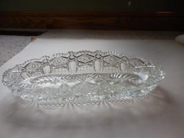 Vintage Sawtooth Edge Clear Cutglass/Crystal Oblong Dish hobstar Fans - $52.88