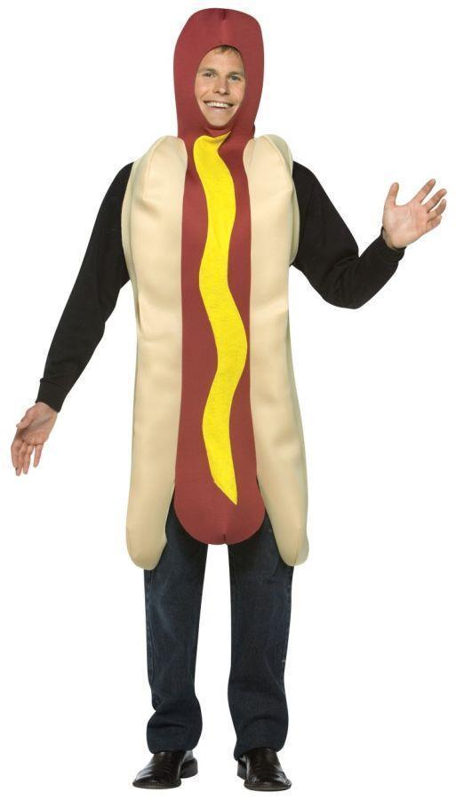Hot Dog Costume Adult Food Wiener in Bun Mustard Halloween Party Unique GC304