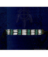 Bone Hairpipe w/ Turquoise & Black Beads Choker - $21.38