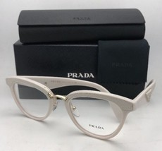 New PRADA RX-able Eyeglasses VPR 26S UFP-1O1 51-21 White & Gold w/ White Leather