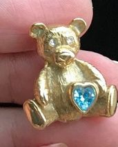 TEDDY BEAR holding Blue Stone HEART Gold-Tone Brooch Pin - signed 1928 - $15.00