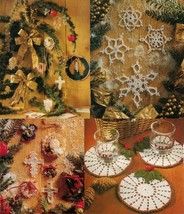 Crochet Christmas Candle Wreath Trims Holly Coasters Snowflakes Cross Patterns - $7.99