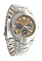 New Casio Edifice Watch Brown face Stainless Steel 100M Water Resistant ... - $93.47