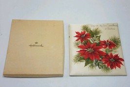 Vintage Hallmark Christmas Card Padded Pillow Front in Box - Pointsettia Flowers - $13.95