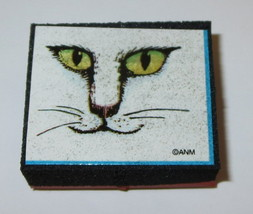 Cat Face Rubber Stamp Eyes Whiskers All Night Media Foam Mounted New Retired  - $4.94