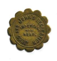 Jess & Johns Recreation Imperial Nebraska 10c Ten Cent Trade Token 26mm - $14.84
