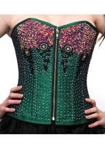 Green Silk Sequins Front Zipper Burlesque Waist Training Overbust Corset Costume - $79.19+