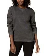 Karen Scott Women's Sweatshirt Charcoal Heather Round Neck Long Sleeves ... - $18.81