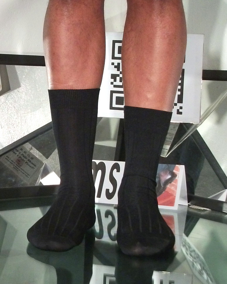 Used Mens Sheer Socks Black John Weitz Non Glossy Wide Rib Mid-Calf 10-13, C-250