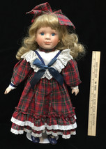 "Porcelain Doll Red Green Plaid Gingham Dress Blonde Curls Blue Eyes 16.5"" Girl  - $14.10"