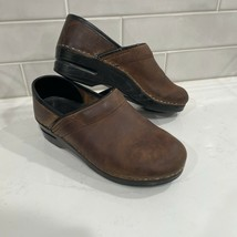 DANSKO Leather Classic Stapled Clogs Brown Slip On Shoes Comfort Size 38 (7.5/8) - $28.99