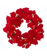 10018565 SHIPS FREE Christmas Collection Lighted Red Poinsettia Wreath - $43.95