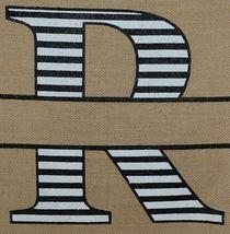 Kate Winston Brand Brown Burlap Monogram Black White R Garden Flag image 3