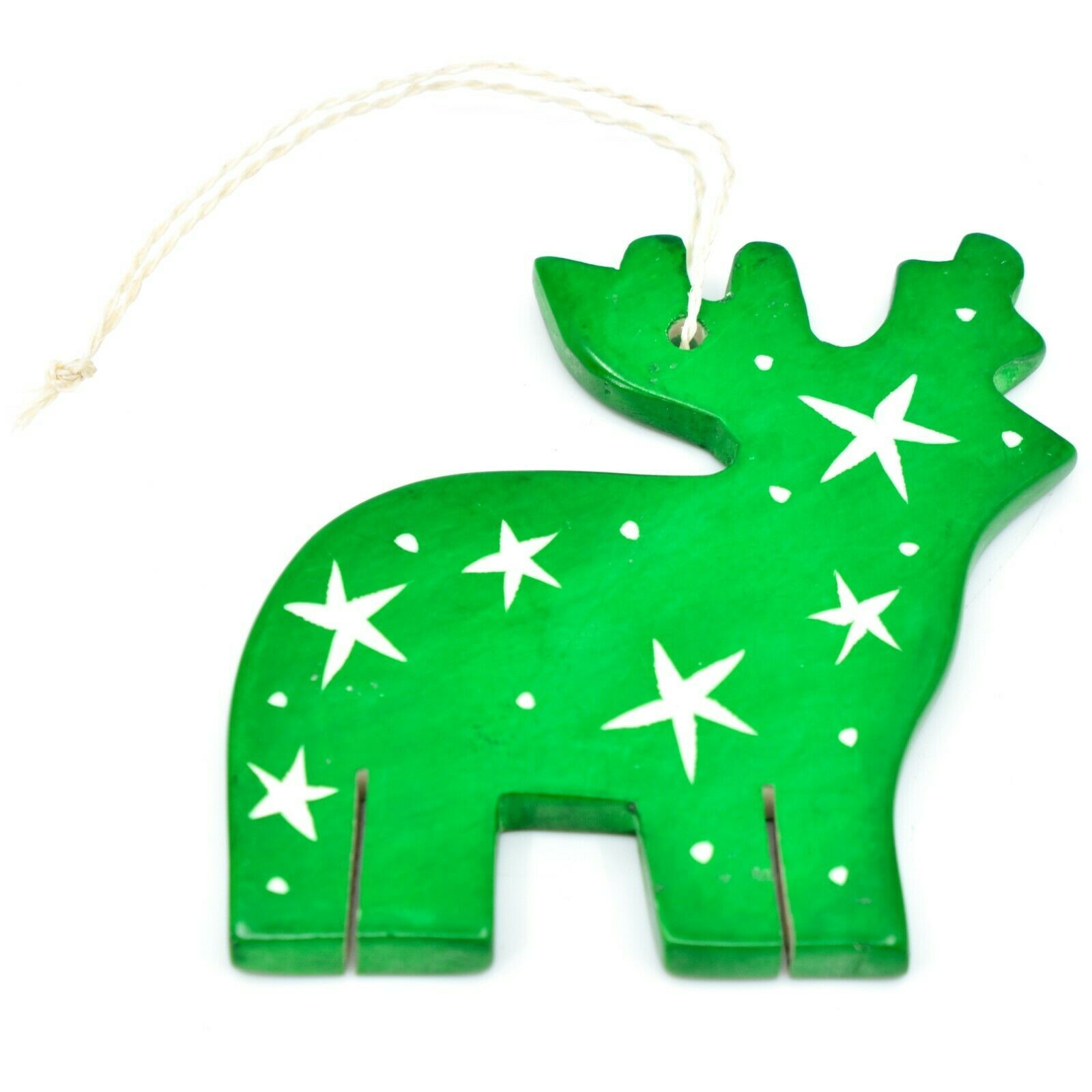 Undugu Society Hand Carved Soapstone Green Reindeer Christmas Holiday Ornament