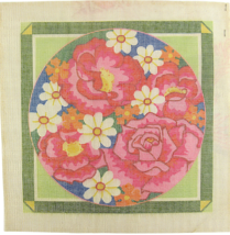 Vintage 70's Hand Painted Canvas Radiant Array of Beaming Pink & Perfect... - $38.25