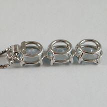 COLLIER OR BLANC 750 - 18K, TRILOGY AIGUE-MARINE OVALE CARAT 2.50 ET DIAMANT image 4