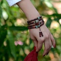 Beaded Bracelet vintage Dzi Beads pendant Bohhda Necklace natural stone handmade - $23.00