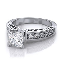 Princess Cut CZ White Gold Plated 925 Sterling Silver Solitaire W/ Accents Ring - £61.48 GBP