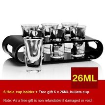 Black U-Shaped Tray Bar Club Small Bullets Cup Holder 6 Holes + Gift 26ml Glass - $41.47