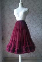 Burgundy Ballerina Tulle Skirt A-Line Layered Puffy Ballet Tulle Tutu Skirt image 4