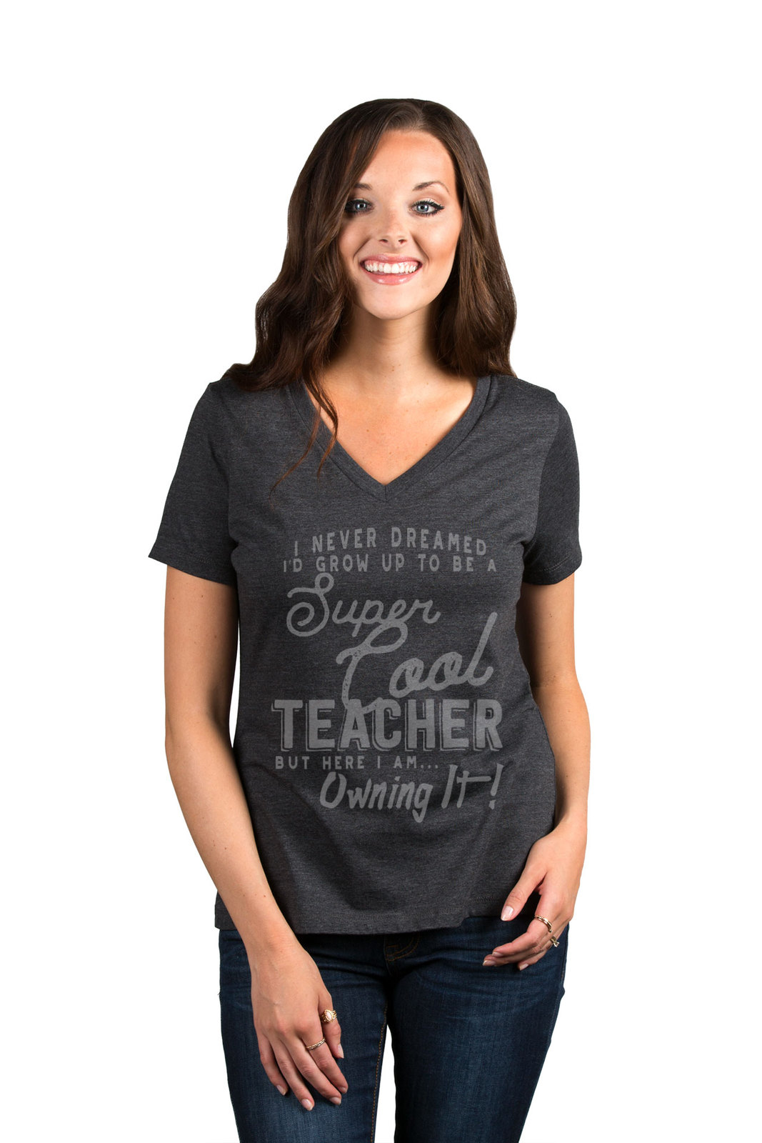 Thread Tank Super Cool Teacher Women's Relaxed V-Neck T-Shirt Tee Charcoal