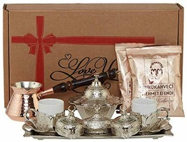 """""""Silver"""" 16 Pieces Turkish Greek Arabic Coffee Set with Cups Saucers Cop... - $72.33"""