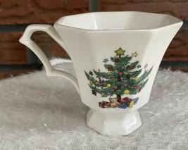 Nikko Christmastime Japan Octagon Teacup Tea Cup Christmas Crazed Holiday Vintag - $4.90