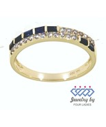 Blue Sapphire Birthstone 14K Yellow Gold 0.35CT Natural Diamond Designer... - $1,250.37