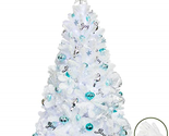 KI Store Artificial White Christmas Tree with Ornaments and Lights Blue and 6
