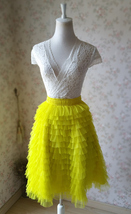 GRAY Tiered Tulle Skirt Women High Waist Tier Tutu Skirt Outfit Party Prom Skirt image 12