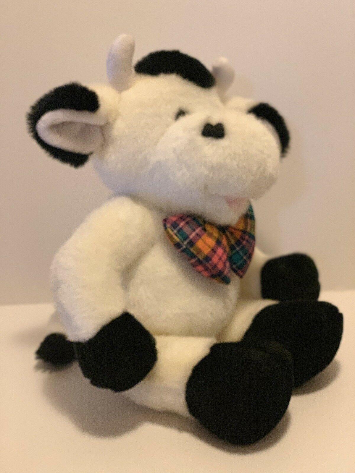 "Commonwealth Plush Cow Black White Stuffed Animal Plaid Bow Tie Soft 14"" Toy image 2"