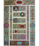 RENAISSANCE Manuscripts Ornaments Pavia Italy - A. RACINET Color Litho P... - $21.60