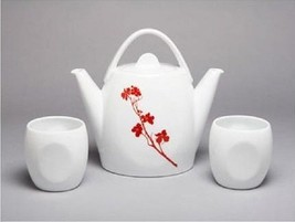 MarlaDawn Duet Teapot & Cups 3 Piece Set Dogwood Blossom New In Box - $49.45