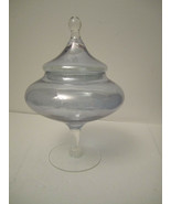 Blue Glass Candy Dish Trinket Dish Iridescent Shimmery Pale Silvery Tall... - $17.00