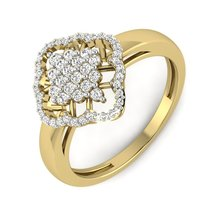 Solid 925 Sterling Silver Yellow Gold 0.5ct Diamond Ring Engagement Ring... - $79.99