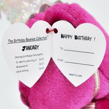 2002 Ty Birthday Beanie Baby January the Pink Teddy Bear Beanbag Plush Toy image 6