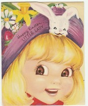 Vintage Easter Card Girl in Bunny Hat 1953 Art Guild of Williamsburg - $8.90