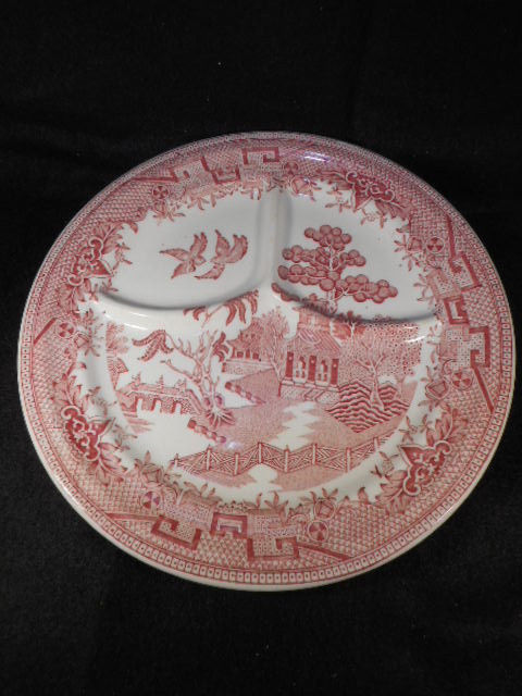 "Vintage Sterling Pink Willow Transfer ware 9 1/4"" Pink White Divided Grill Plate"