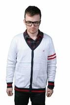 Orisue Renson V-Neck Button Down Cardigan in white/red/black