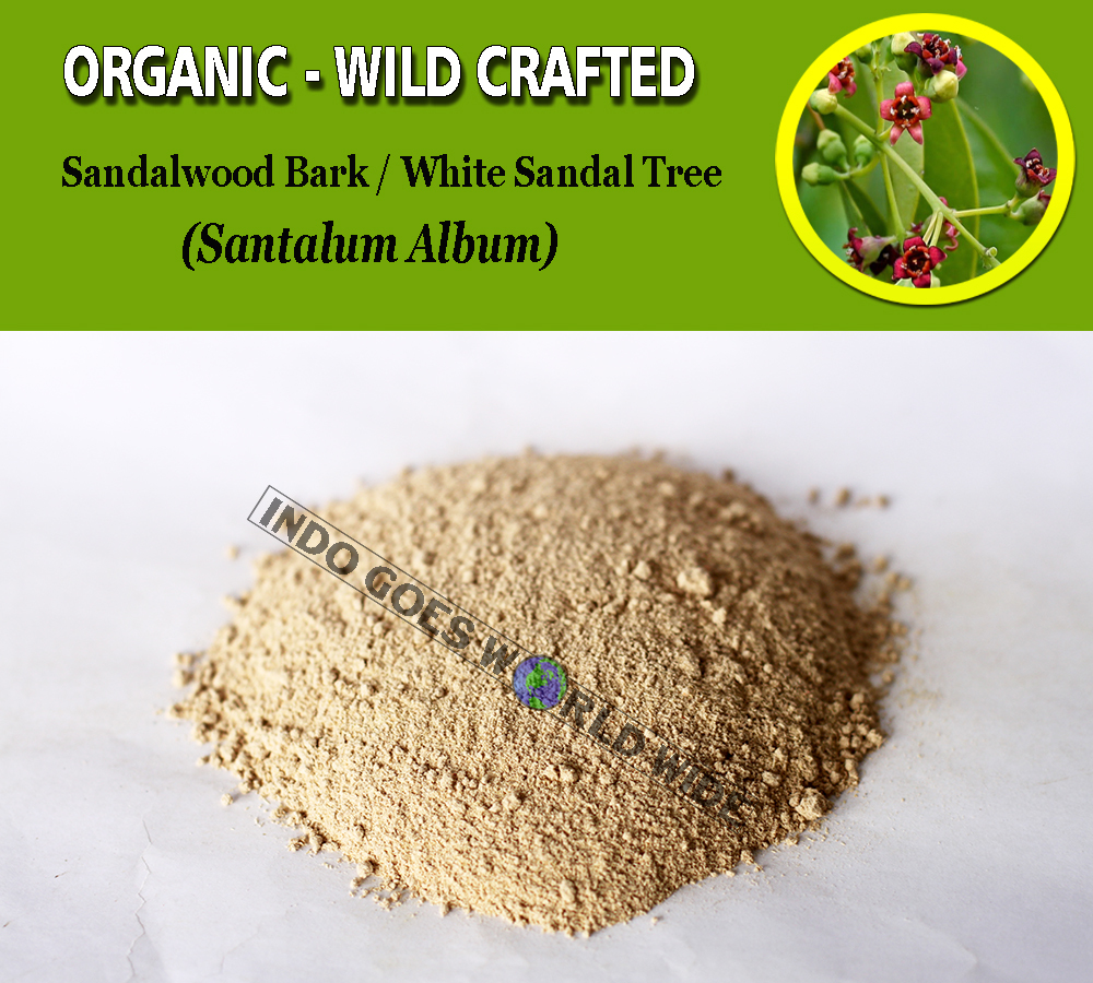 POWDER Sandalwood Bark White Sandal Tree Santalum Album Organic Wild Crafted
