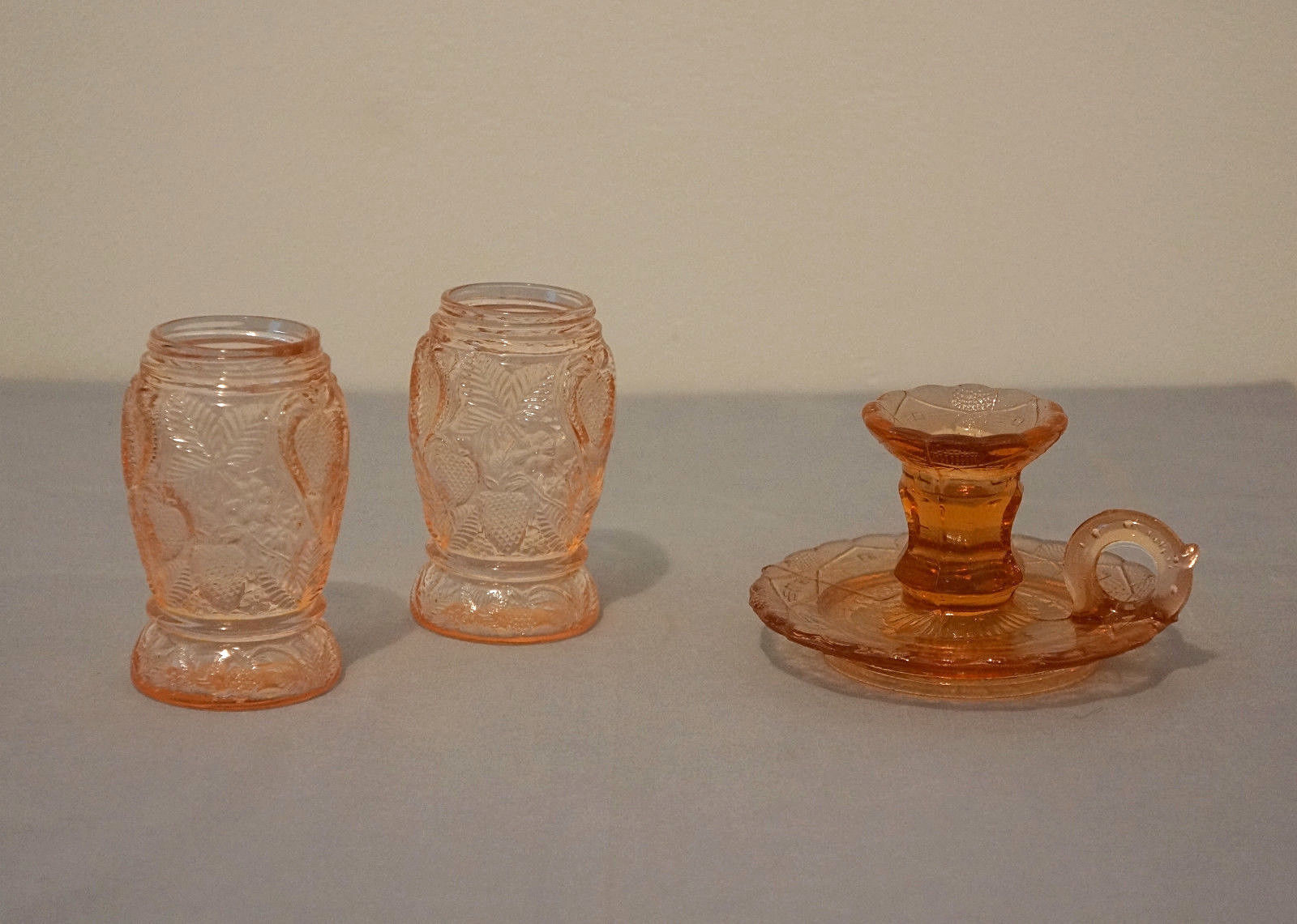 Pink Heisey Glass Candle Stick Holder 2 Pink Salt Pepper Reproduction NO LIDS - $39.95