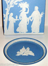 Wedgwood Infant Academy Oval Tray Blue Jasper BasRelief Collectible UK New Boxed - $69.90