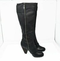 Vince Camuto Women's Sz 9.5 EU 39.5 Black Leather Zip Up Knee High Boots - $58.99