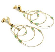 Drop Earrings Yellow Gold 750 18K, Triple Circle, Tourmaline Green, Balls image 3