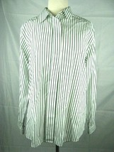 Talbots Shirt Womens Size 12 Green Striped Button Front 100% Cotton - $19.78