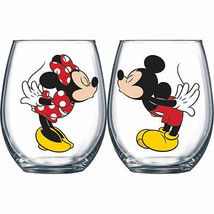 Mickey And Minnie Kissing 14.5 oz Wine Glass Set Of 2 Clear - $22.98